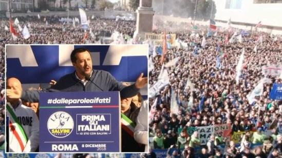 """Ιταλία: Συλλαλητήριο Της Λέγκα Εναντίον Της Λαθρομετανάστευσης Στην Piazza Del Popolo - Σαλβίνι, """"Ενός Λεπτού Σιγή"""" ~ Italy: Lega Rally Against Immigration In Piazza Del Popolo - Salvini, """"Minute Of Silence"""" ~ Italia: Lega, Le Immagini Di Piazza Del Popolo Dall'alto - Salvini, """"Minuto Di Silenzio""""...! (Video + Photos)"""